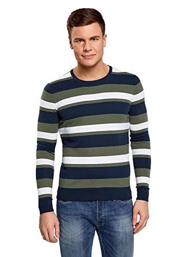 oodji Ultra Herren Pullover Gestreift mit Rundhalsausschnitt, Grün, DE 52-54 / L (Streifen Grüne Pullover)