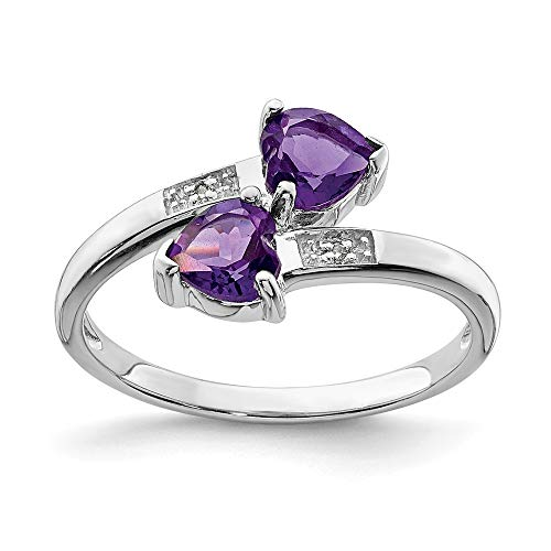 Sonia Jewels Amethyst and Sterling Silver Engagement Ring in Sterling Silver 925 Violet Purple in February simulated heart (0,01 Carat). (2 mm)