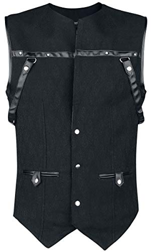 Vintage Goth Chaleco Hombre Gótico con Brocado Chaleco Negro M