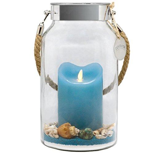 Dekovita Geschenkidee 30cm Dekoglas LED-Echtwachs Kerze m. bewegter Flamme u. Deko-Sand Ostern Muttertag Geburtstag