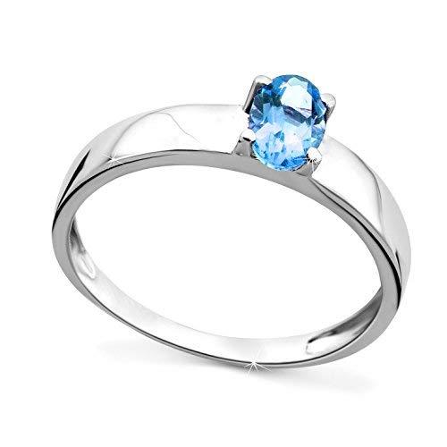 Orovi donna fidanzamento anello in oro bianco con topazio 9carati (375) con topazio 0.55crt, oro bianco, 11, colore: gold, cod. or72036r51
