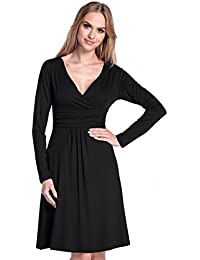 Glamour Empire. Femme. Robe à taille froncée. Robe jersey manches longues. 890