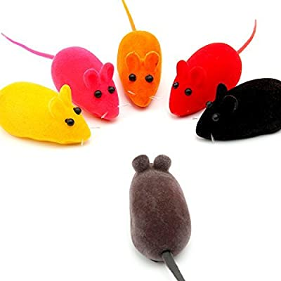 Gemini_mall® Pack of 10 Furry kitten Mice Cat Toys with Feathers and Artificial Fur