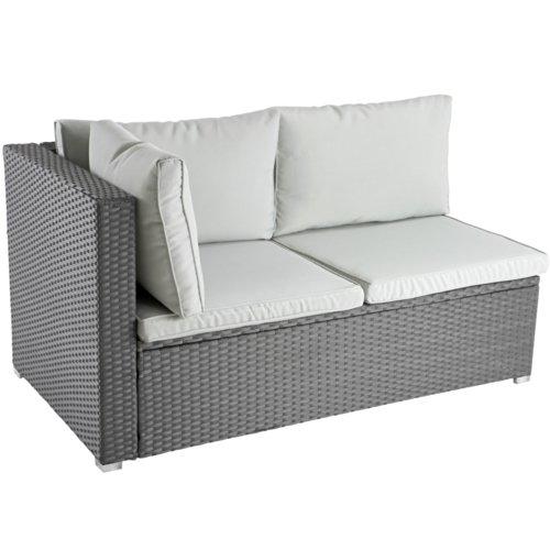 Ecksofa für bis zu 2 Personen aus Polyrattan Gartenmöbel inkl. Sitzkissen -Farbwahl- schwarz, grau oder braun - 3