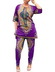 Vovotrade Las mujeres forman africanos impresión Tops + Pantalones