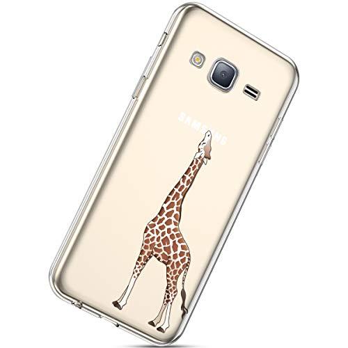 Handyhülle Kompatibel mit Galaxy J3 2015/2016 Schutzhülle Silikon hülle Transparent Ultradünn Clear Cover Handytasche Weich Durchsichtig Klar Schutzhülle Case Cover Tasche,Giraffe