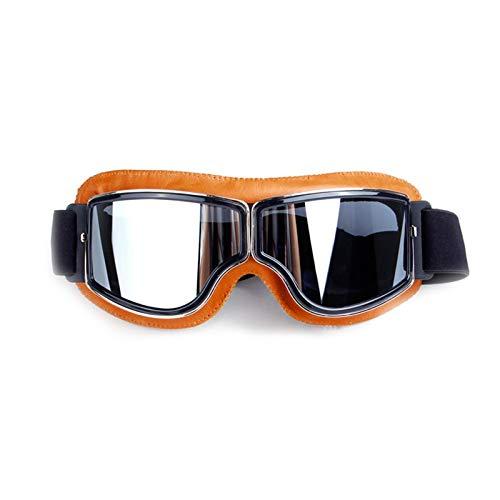 MaxAst Sonnenbrille Motorradbrille Vintage Schutzbrille Unisex Gelb Silber