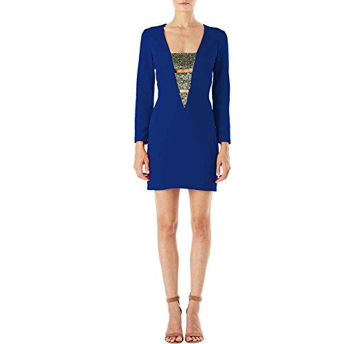iShine elegante Kleider Damen Kurz Etuikleid Langarm Bodycon V-Ausschnitt  Stretch Minikleider Partykleider Blau 5f31187f2b