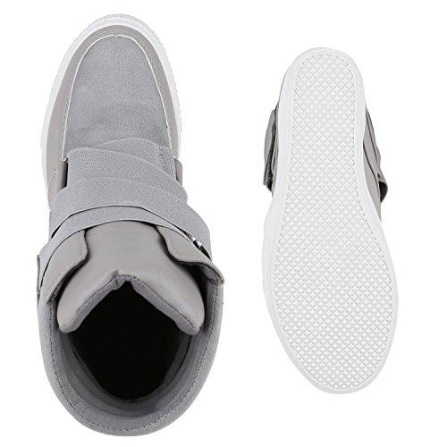 Damen Sneakers Keilabsatz Sneaker-Wedges Schuhe Grau