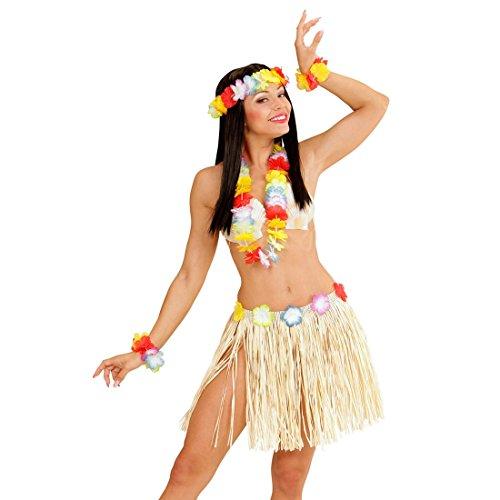 Hawaii Set Hula Damen Kostüm Halskette Armband Kopfschmuck Blumenkette Kopf Schmuck Hawaiiketten Blumen Kette Aloha