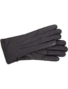 Warmer, schwarzer TOP Damenhandschuh mot warmen Wollfutter, mollig weiches Peccaryleder mit Handnaht von Roeckl