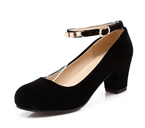 VogueZone009 Femme Couleur Unie Suédé à Talon Correct Rond Boucle Chaussures Légeres Noir