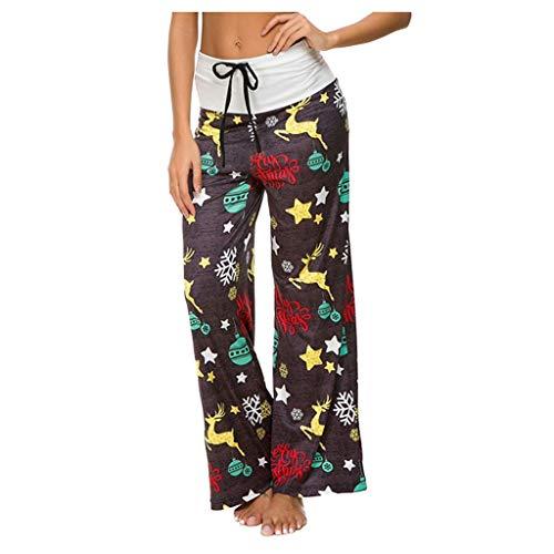 ➤Refill➤Damen Blumenmuster Weite Bein Lange Hose Camouflage Hose Schottenkaro High Waist Hosen Locker Lange Freizeithose Haremshose Boho Hippie Hose