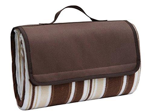 Honeystore Flanell Wasserdichte Yoga Matte Picknickdecke Mit Tragegriff Braun 150*200 CM