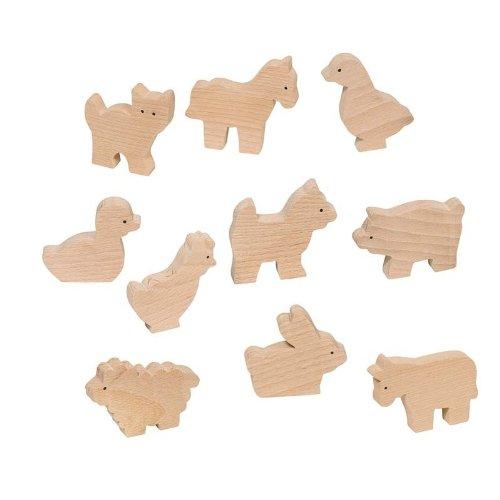 Goki 53871-Bauernhof-Tiere (10Modelle) (Holz) (+ 3Jahre)