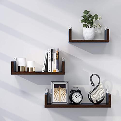 Hesolo Wandregal Floating Shelf, Set mit 3 verschiedenen Größen Floating U-Regale Wandmontage, Wandregal für Wohnkultur, Ausstellungsstand, Abstellregale für Schlafzimmer, Wohnzimmer, Küche, Büro (