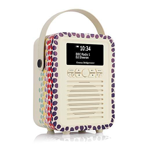 Emma Bridgewater Portable Retro Mini DAB and DAB+ Digital Radio with FM, Bluetooth, Aux, USB, Alarm Clock - Rainbow Dot
