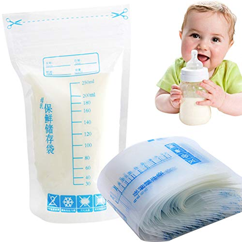 30Pcs Breastmilk Storage Bags, 250 ml usa e getta zipper Seal self-standing Safe Baby Feeding sacchetti per la conservazione del latte materno