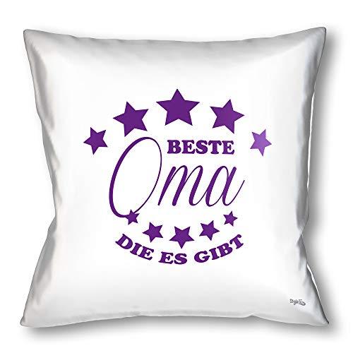 Stylotex Kissen - Geschenk für die beste Oma Dekokissen Bedruckt in höchster Druckqualität Designed in Deutschland - Beste Oma die es gibt