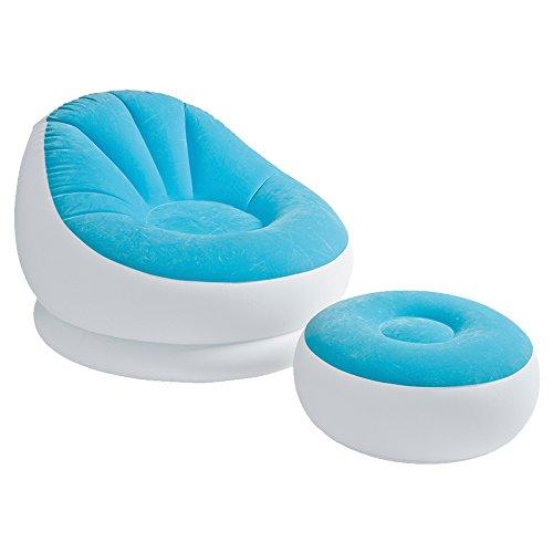 Intex Aufblasbarer Sessel mit Fußstütze blau