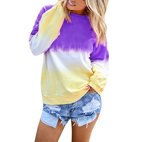Damen Freizeitoberteil,Frauen Baggy Kaftan Langärmliges T-Shirt mit Farbverlauf O-Ausschnitt Farbverlauf Kontrastfarbe Langarm Top Pullover Sweatshirt - Floral Front Scoop Neck Tee