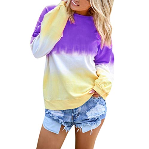MOTOCO Damen Long-Sleeved Top Lässige O-Ausschnitt Multi-Color Broadcloth Pullover Hemd(S,Lila-1) -