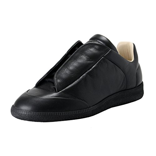 maison-margiela-22-mens-black-leather-fashion-sneakers-shoes-us-7-it-40