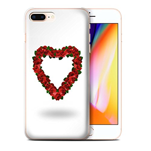 Stuff4 Hülle / Case für Apple iPhone 8 Plus / Rote Herzen Muster / Valentine Herz Kollektion Rote Rose/Blätter