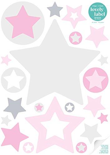 lovely label Wandsticker selbstklebend STERNE GRAU/ROSA - Wandaufkleber Kinderzimmer / Babyzimmer mit Sternen in versch. Farben - Wandtattoo...