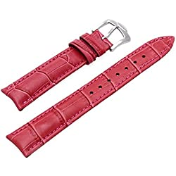 SODIAL (R) Bracelet Fuchsine Leather Replacement Watch Strap 18 mm