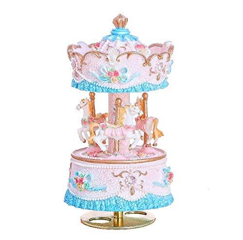 JZK Caja música carrusel giro con melodía tarjeta felicitación sobre, caja música Merry-go-round, regalo cumpleaños / regalo navidad / bautizo presente para bebés niños niñas niños
