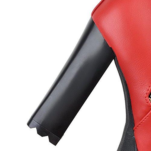 Stivali Con Zip Bassi Rosso Miste Agoolar Materiale Tallone Arrotondare Metallo Donna wqUxA0XE