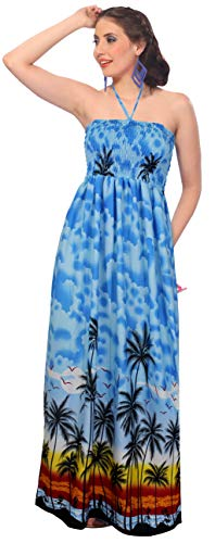 LA LEELA Likre hawaiianischen Aloha 3 in 1 beiläufigen Langen Cocktailkleid Abend langes Kleid Neck Brautjungfer Sundress Maxi-Rock Bademode verschleiern loungewaer Bandeau ärmelloses Kleid blau