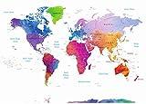 Stylish Living Mapa Mundo Gigante para Pared Mapamundi Mural Moderno Mapa Mundial Original XXL Poster de Colores de Diseñador Planisferio de Decoración de Dormitorio, Salón 140x100 cm