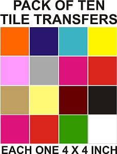 "4"" Tile Transfers Stickers 10,ORANGE ,Your Choice Of Colours - 10,0,30,40,50,100,"