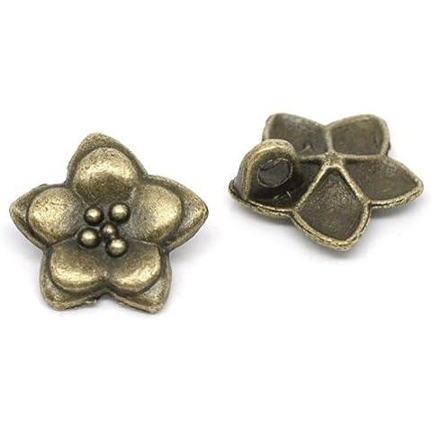 Confezione da 10Bottoni a forma di fiore in metallo 16MM, in bronzo per cucito, scrapbooking, decorazioni, artigianato, gioielli, stile Shabby Chic, lavori a maglia