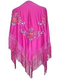 La Señorita Mantones bordados Flamenco Manton de Manila Rosa oscuro flores de colores diferentes triángulo