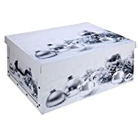 Excellent Houseware Christmas Xmas Design Cardboard Room Tidy Toy Storage Gift Box Chest Trunk (White)