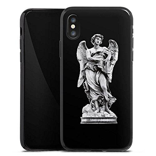 Apple iPhone X Silikon Hülle Case Schutzhülle Engel Statue Angel Silikon Case schwarz