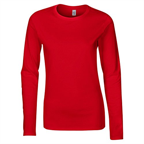 Gildan Softstyle signore Ringspun a maniche lunghe T-shirt Rosso - rosso