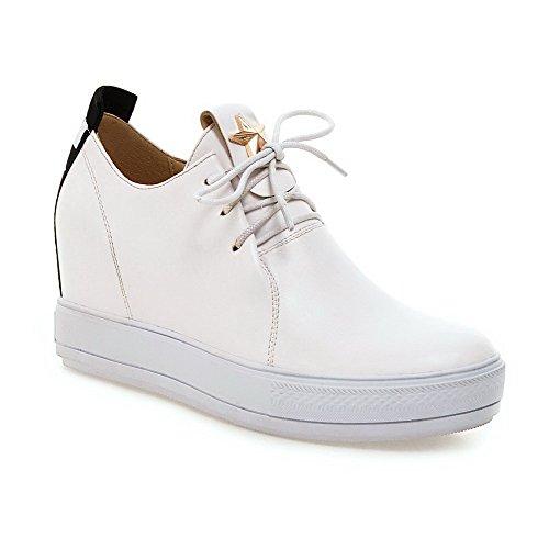 AllhqFashion Damen Weiches Material Schnüren Hoher Absatz Eingelegt Pumps Schuhe Weiß