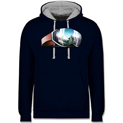 Wintersport - Skibrille - Kontrast Hoodie Dunkelblau/Grau meliert