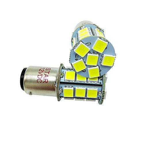 BA15D 1157 1142 Super Lumineux 5050 SMD 27 LED du circuit intégré ampoules marine RV, tension de fonctionnement : 12 VDC, 3.5 W 500LM couleur : 6500 K blanc (Paquet de 2)