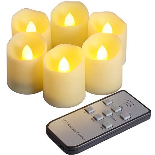 PChero 6pcs LED Flammenlose Kerzen mit Fernbedienung und Timer-Funktion, Helligkeit und Flimmern/Dauerlicht Hell einstellbar, Länger als 200 Stunden