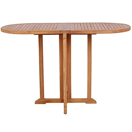 Mr. Deko Teak Balcony - Tisch - Gartentisch - eckig/rund - klappbar - Outdoormöbel - Teakholz - für Balkon, Terrasse, Wintergarten, Garten