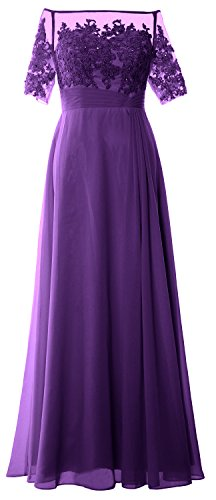 MACloth Women Off Shoulder Mother of Bride Dress Short Sleeve Lace Formal Gown Regency