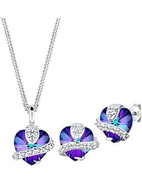Elli Damen Schmuckset Halskette und Ohrstecker 925 Sterling Silber Swarovski Kristall Herz