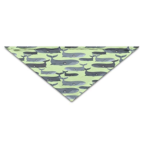 hulili Puppy Dog Cat Pet Scarf Calm Blue Whales - Smaller Scale On Light Green 11.8x27.5 inches Dog Bandanas -