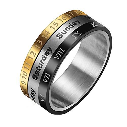 eit Römischen Ziffern Band Ring Kreative 3 Farben Drehbare Datum Woche Band Edelstahl Spinner Ring Für Männer Frauen US 7-11 ()
