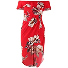 Babysbreath Mujeres Off Shoulder Floral Printed Split Vestidos Ruffle Irregular Summer Beach Dress rojo XL